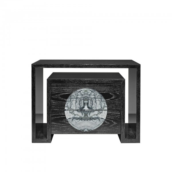 Bedside table Duplo U with stone [ I ]