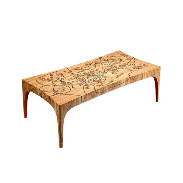 Boro Tea Table with artistic intervention by Júlio Dolbeth